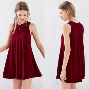 UO Silence + Noise Swingy Tank Burgundy Red Mini